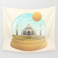 globe Wall Tapestries featuring Sand Globe by Moremo