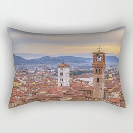 Aerial View Historic Center of Lucca, Italy Rectangular Pillow