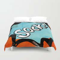 comic book Duvet Covers featuring Comic Book: Sock! by Ed Pires