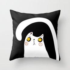 Dark Night White Cat Throw Pillow