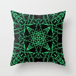 Black and green, abstract, geometric, creative, art Deco, modern Throw Pillow