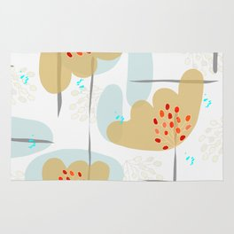 Organic Minimal Flowers and Leaves Shapes Rug