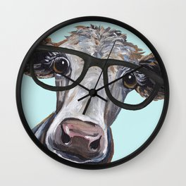 Cute Glasses Cow, Up close cow with glasses Wall Clock