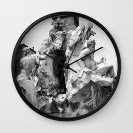 fontana navona black and white Wall Clock