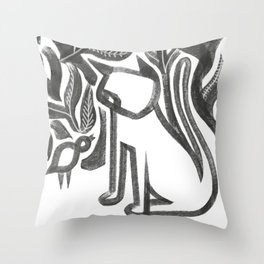 Bird and Cat Throw Pillow