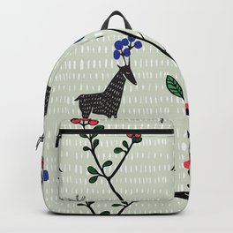 Berry loving deers on a green background Backpack