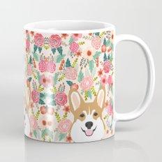 Welsh Corgi cute flowers spring summer garden dog portrait cute corgi puppy funny god illustrations Mug