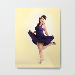 """Flirt Skirt"" - The Playful Pinup - Cheesecake Pinup Smile in Purple Dress by Maxwell H. Johnson Metal Print"