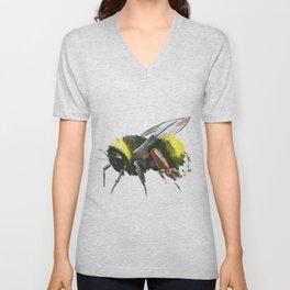 Bumblebee, minimalist bee honey making art, design black yellow Unisex V-Neck