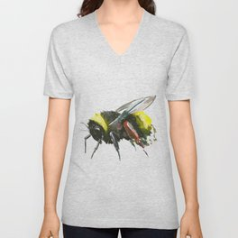 Bumblebee, minimalist bee honey making art, design black yellow Unisex V-Neck
