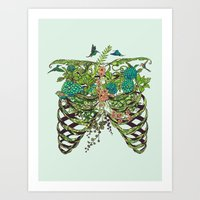 green Art Prints featuring Daydreamer by Huebucket