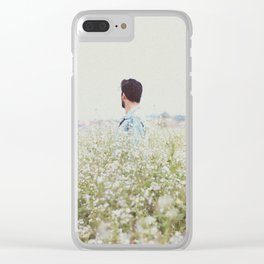Man - Flowers - Field - Photography Clear iPhone Case