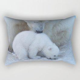 Polar Bear Mother and Cub portrait. Rectangular Pillow