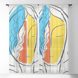 Graphic Minimal Portrait Design Orange Yellow and Blue Sheer Curtain