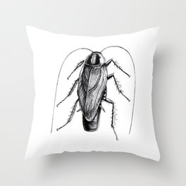 Cockroach Pen Art Drawing Throw Pillow