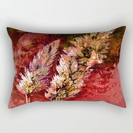 Abstract Red Floral Sprays Rectangular Pillow