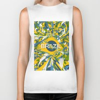 brazil Biker Tanks featuring Abstract Brazil by Danny Ivan