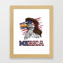 Patriotic Mullet Eagle   Independence Day July 4th Framed Art Print