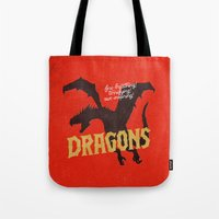 dragons Tote Bags featuring Dragons by WEAREYAWN