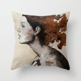 Moral Eclipse I: Rust | moth tattoo woman portrait Throw Pillow