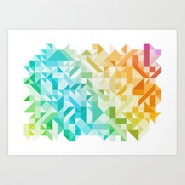 Colorful Geometric Pattern Saturated Rainbow Pattern Design (Red Pink Orange Yellow Green Blue) Art Print