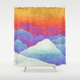 Hilly Lands - rainbow-colored Shower Curtain