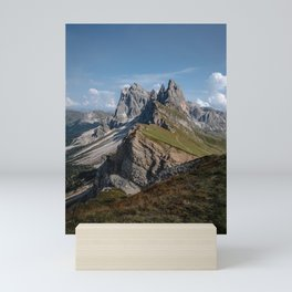 Picture of Seceda mountain in the Dolomites in Italy Mini Art Print