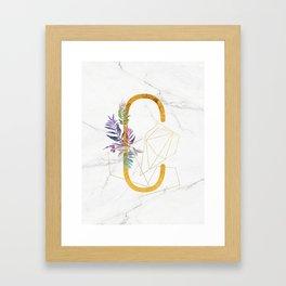 Modern glamorous personalized gold initial letter C, Custom initial name monogram gold alphabet prin Framed Art Print
