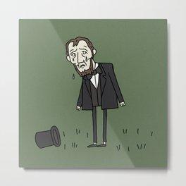 Sad Abe in a Field Metal Print