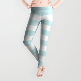 Duck Egg Pale Aqua Blue and White Wide Horizontal Beach Hut Stripe Leggings
