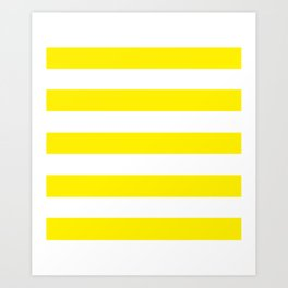 Canary yellow - solid color - white stripes pattern Art Print