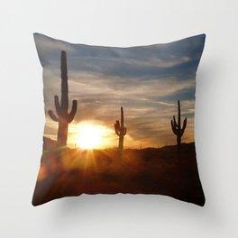 Cactus and Desert at Dusk Throw Pillow