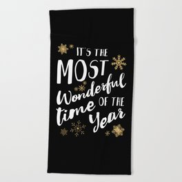 It's the Most Wonderful Time of the Year - Black Beach Towel