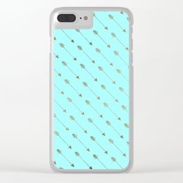 Modern teal faux gold bohemian chic arrow pattern Clear iPhone Case