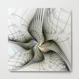 Flying, Abstract Fractal Art Fantasy Metal Print