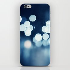 Blue Sparkle Lights Photography, Navy Sparkly Abstract Bokeh Lights iPhone & iPod Skin