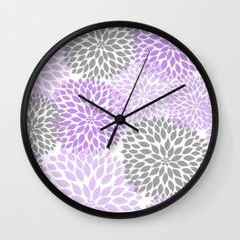 Lavender gray dahlias floral art Wall Clock