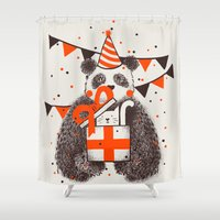 happy birthday Shower Curtains featuring Happy Birthday by Tobe Fonseca
