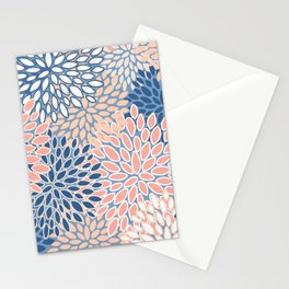 Modern, Flowers Print, Coral, Peach and Blue Stationery Cards