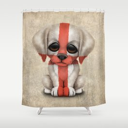 Cute Puppy Dog with flag of England Shower Curtain