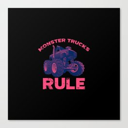 Awesome Monster Trucks Rule Funny Trucks Gift Canvas Print