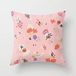 Abstract modern floral pink Throw Pillow