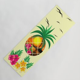 Pineapple Tropical Sunset, Palm Tree and Flowers Yoga Mat