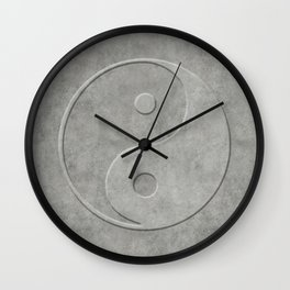 Yin and Yang Symbol embossed  concrete stone Wall Clock