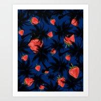 strawberry Art Prints featuring strawberry  by mark ashkenazi