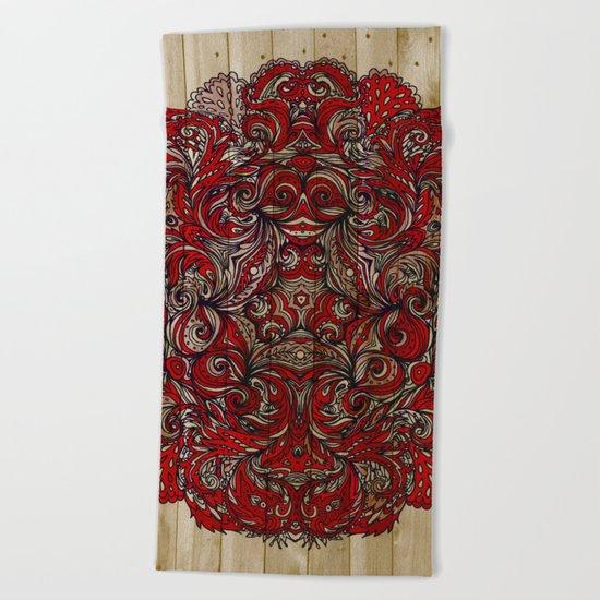 Red Indian Mandala on Wood Beach Towel