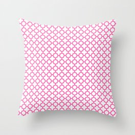 Hot Pink Quatrefoil Pattern Throw Pillow