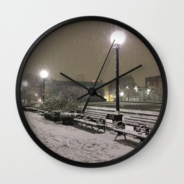 Romantic Seattle Snow At Night Wall Clock
