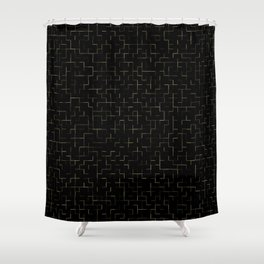 Tiled Up Gold Shower Curtain