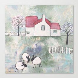 Farmhouse - Three Sheep Canvas Print